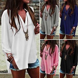 Damen-Chiffon-V-Ausschnitt-Bluse-Pullover-Langarm-Longshirt-Tunika-Oberteil-Hemd