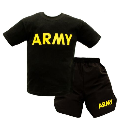 Black Army Youth PT Shorts and T-Shirt Set