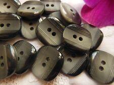 lotto 8 bottoni nero grigio Lavorato striato diametro: 2 cm BN