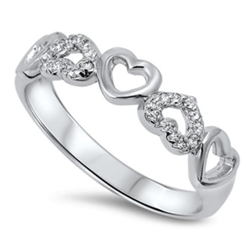 .925 Sterling Silver Hearts Friendship Clear CZ Promise Ring Size 4-10 NEW