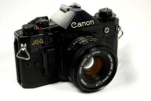Canon A-1 A1 Film Camera with Canon 50mm f/1.8 or f/2.0 Lens - Very Good