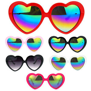 eabc26bb5b7 Details about Womens Color Reflective Rusta Mirror Lens Plastic Frame Heart  Shape Sunglasses
