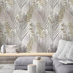 Wallpaper Roll Ivory Grey Gold Metallic Modern Floral