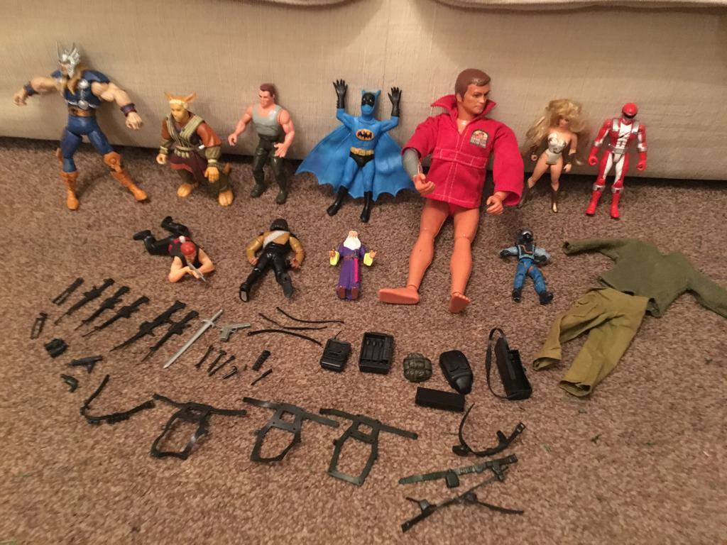 Vintage action figures and parts, Batman, Wonder Woman, 6 million dollar man