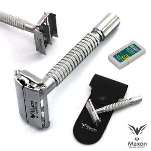 MAXON-MG3902-Rasierhobel-Butterfly-Razor-Rasierer-Safety-5-Rasierklingen-Etui
