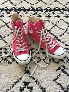 2a36f4c1df7 CONVERSE Chuck Taylor High Top Sneakers Size 8 Men 10 Women Hot Pink ...