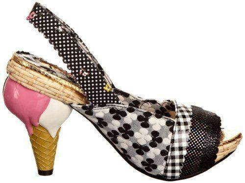 Irregular Choice Get on It Chaussures Noires 9.5 Crème Glacée Cône talons open toes sauvage