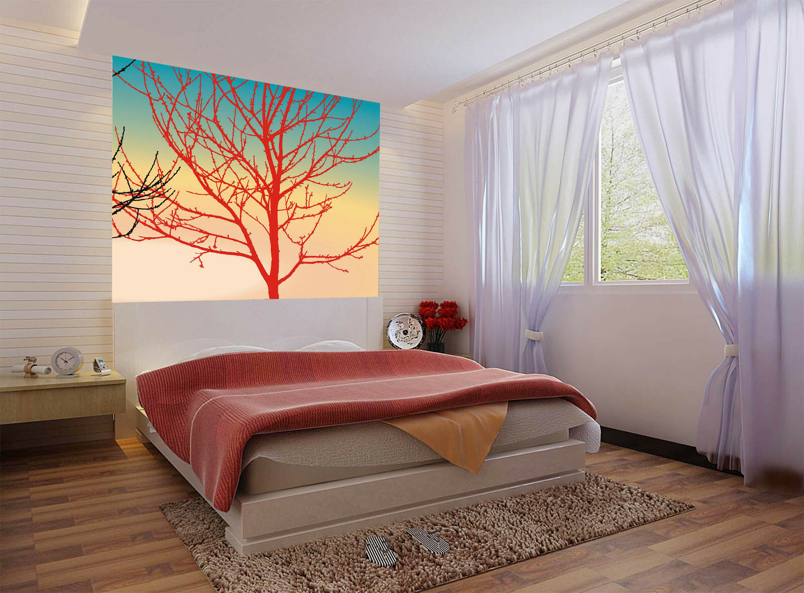 3D ROT Tree Branchs 56 Wall Paper Wall Print Decal Wall Deco Indoor Mural Carly