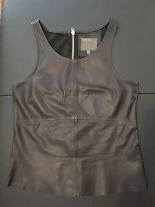 T-shirt-Top-Haut-Debardeur-en-cuir-MUUBAA-taille-UK-10-EUR-38-leather