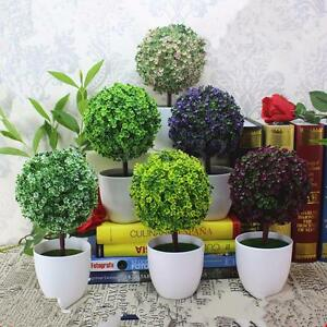 Artificial topiary ball tree plants in pot garden home for Artificial plants indoor decoration