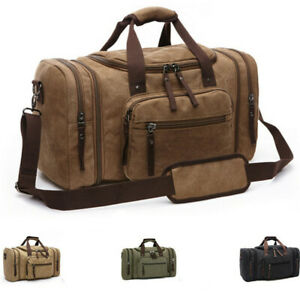 Canvas-Travel-Tote-Luggage-Large-Men-039-s-Weekend-Gym-Shoulder-Duffle-Bag-amp-Strap