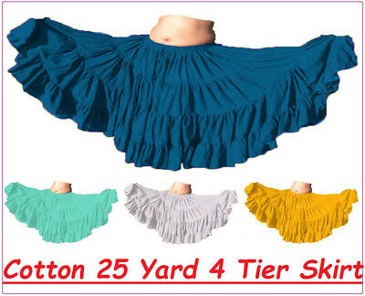 Cotton Belly Dance Tribal 25 Yard 4 Tier Gypsy Skirt Tier Flamenco Ethnic Tiered