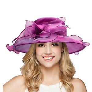 e1cb2c0096c Details about Bow Occasion Formal Dress Women s Kentucky Derby Hat Wide  Brim Church Hats A454