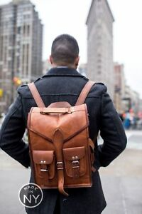 Men-039-s-Real-Leather-Carry-On-Backpack-Laptop-Bag-Large-Hiking-Travel-Camping-New