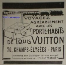PUBLICITE DE 1922 LOUIS VUITTON PORTE HABIT TRAIN FRENCH ORIGINAL AD PUB ADVERT