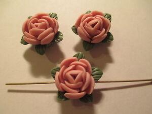 10 ~ Porcelaine Argile Rose Rose 16 Mm Fleur Perles Lf7 Vente En Ligne Du Dernier ModèLe En 2019 50%