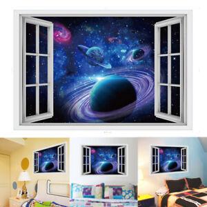 10046b3c7a3b Galaxy Planet Space Wall Sticker Kids Baby Bedroom Art Vinyl 3D Wall ...