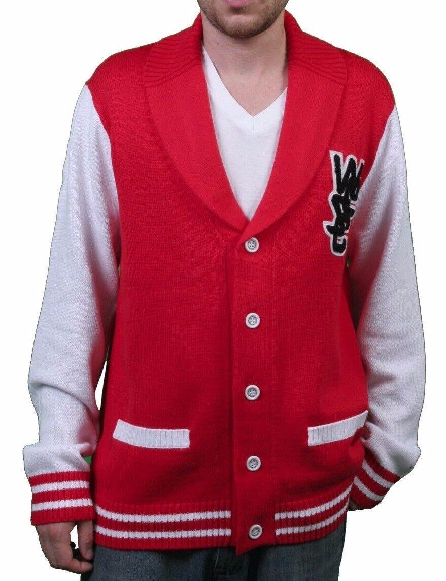 WeSC  Herren Massimo Knitted True ROT Cardigan Cotton Sweater NWT