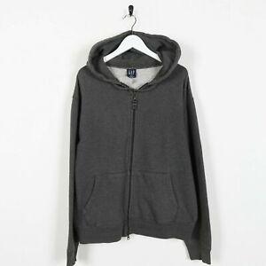 Vintage-GAP-Plain-Zip-Up-Hoodie-Sweatshirt-Grey-Medium-M