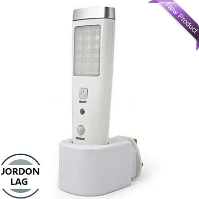 Emergency Motion Detection Sensor LED Rechargeable Light Torch Indoor Plug-In