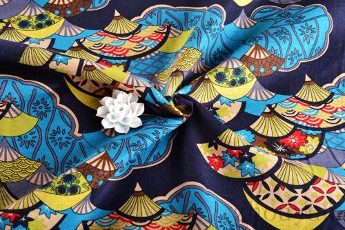 "CALICO FABRIC 1//2 YD X 56/"" ORIENTAL RETRO JAPANESE TRIDITION FAN ART JAPAN ="