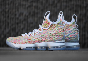 san francisco ee7e5 80a34 Image is loading Nike-LeBron-15-XV-Fruity-Pebbles-Multicolor-Size-