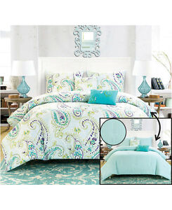5 Pc Reversible Turquoise Blue Paisley King Comforter