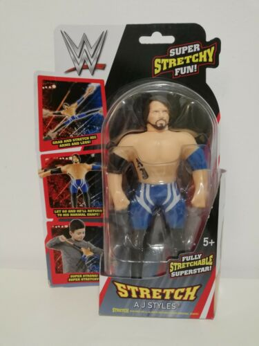 WWE Mini-Stretch wrestling action figure AJ STYLES Pantaloncini Blu versione GRATIS P/&P