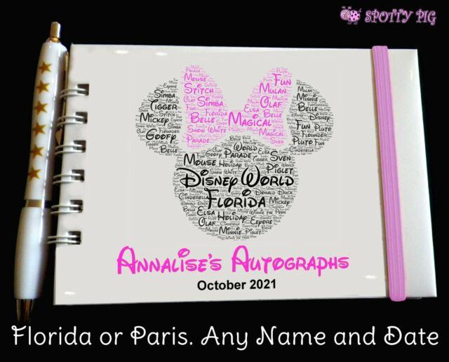 Personalised Autograph Book Disneyland or Disney World Castle Pocket Size