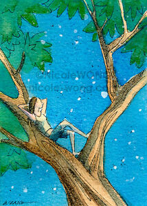 ACEO-PRINT-Dreaming-art-painting-drawing-woman-tree-night-stars-dream