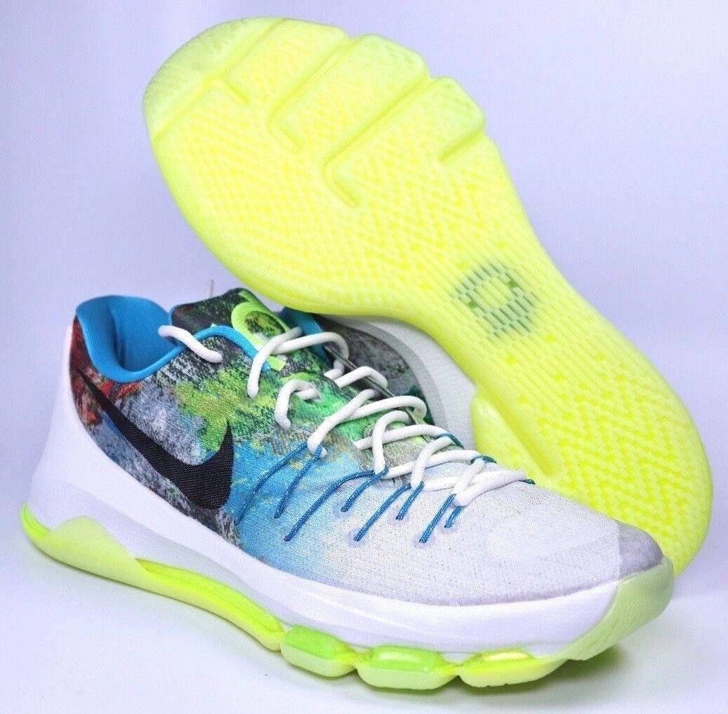 Nike KD 8 N7 Mens White Black Liquid Lime Basketball Shoes Size 9 | 811363-123