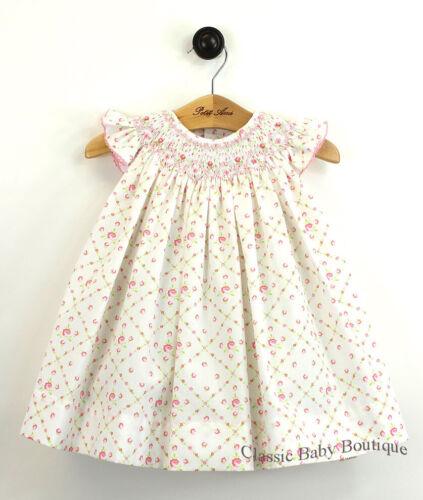 NWT Petit Ami Cream Bishop Smocked Rose Baby Girls 2pc Dress 12 18 24 Months