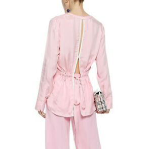 Sandro-Paris-Britany-Top-1-Pink-White-Blouse-Sheer-Tie-Open-Back-V-Neck-Women-s