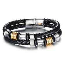 Herren Armband - Edelstahl Leder - Schwarz Silber Gold - Armreif Magnet Schmuck