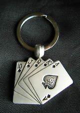 PLAYING CARDS KEYRING PLAIN METAL CARD HAND KEY RING KEY FOB BRAND NEW