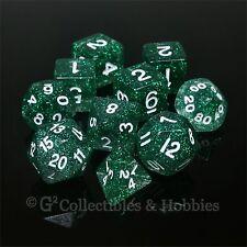 NEW 10 Green Glitter D&D RPG Game Dice Set in Tube D20 D12 D10 D% D8 D6 D4