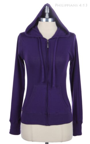 Solid Long Sleeve Full Front Zip Up Drawstring Hooded Jacket with Pockets S M L