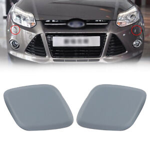 For-Ford-Focus-2012-2014-Pair-Black-Headlight-Headlamp-Washer-Jet-Cover-Cap