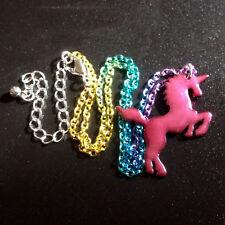 Kitsch~HOT PINK UNICORN RAINBOW NECKLACE CHAIN~Fantasy~Fairy Tale~Princess~Horse
