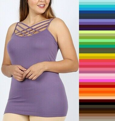 2X WOMEN PLUS SIZE 1X 3X blue or  Pink /& white  sleeveless Tank CAMI TOP
