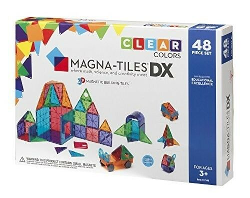 New in Box Magna-Tiles 12148 Clear Colors 48 pc DX Magnetic Toy Building Set 3+