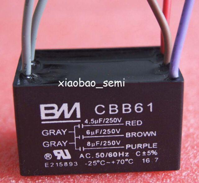 Us Fast Bm Cbb61 4 5uf 6uf 8uf 5 Wire 250vac Ceiling Fan