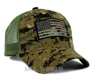 USA American Flag hat cap Mesh Tactical Operator Military Snapback Baseball