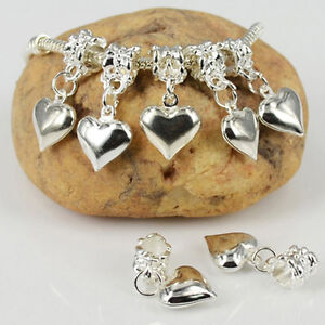 New-10PCS-Silver-Plated-Dangle-Heart-Charms-Loose-Beads-Fit-European-Bracelets