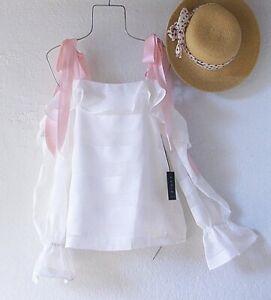 New~White Lace Blush Pink Peasant Blouse Shirt Ruffle Boho Top~Size Medium M