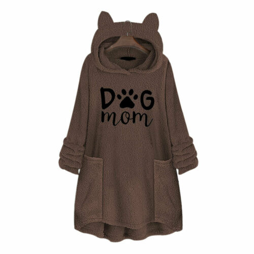 Damen Plüsch Kunstpelz Teddyfeecejacke Sweatshirt Winter Pullover Jumper Longtop