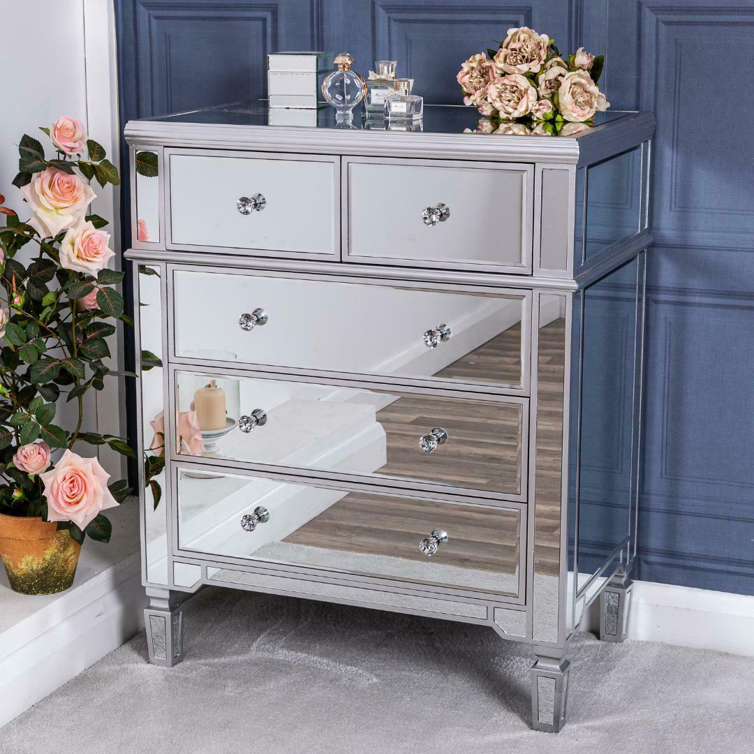 Large Silver Chest Of Drawers Mirrored Unit Glass Hallway Cabinet Bedroom Home Ebay