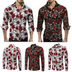 Slim-Men-Luxury-Long-Sleeve-Tops-Tee-Fit-Casual-Rose-Flower-Printed-Shirts