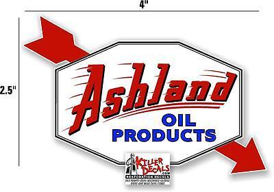 "8/"" HEX ASHLAND ARROW DECAL GAS AND OIL PUMP SIGN STICKER ASHL-5"