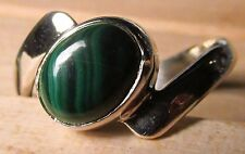 925 silver cabochon green malachite ring UK N¼-½/US 7. Free UK Post